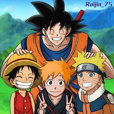 Goku with Luffy, Ichigo and Naruto Anime Naruto, Naruto Shippuden Anime, Otaku Anime, Anime Crossover, Bleach Anime, All Anime Characters, Mega Anime, Manga Anime One Piece, Cartoon Crossovers