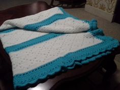 Blue and White Striped Baby Blanket/Afghan by Csquareds on Etsy, $45.00