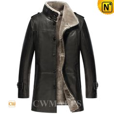CWMALLS® Billings Shearling Lined Trench Coat CW858102 - Stylish shearling lined trench coat for men, designed in shearling trimmed stand collar, front button closure and side pockets, the trench coat made from quality lambskin leather shell and supple plush fur shearling delivers the ultimate winter fashion for you all, we can also customize it for you personally.