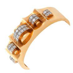 REGNER-PARIS Art Deco Diamond, Platinum and Gold Cuff Bracelet  France  1935