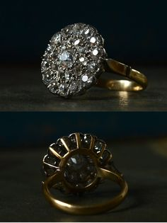 Early 1900s Mine Cut Diamond Cluster RingApprox. 2.00ctw, 18K Gold, (sold)  This one is a beauty. It's one of the bigger cluster rings we've had— the top is 17 x 17mm.