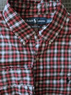 Men Ralph Lauren Classic Fit Red Plaid Large Shirt  Polo #RalphLauren #ButtonFront