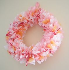 Valentine's Day wreath made from recycled plastic shopping bags Reuse Plastic Bags, Plastic Bag Crafts, Large Plastic Bags, Plastic Grocery Bags, Plastic Recycling, Plastic Waste, Valentine Day Wreaths, Valentines, Recycled Christmas Decorations