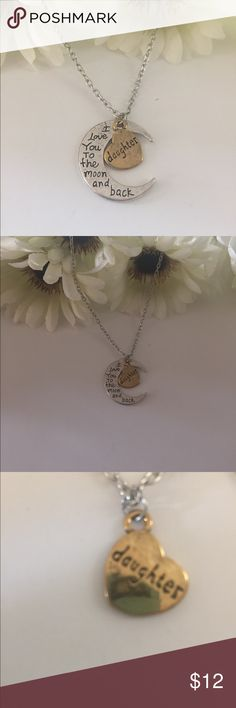 NWOT. Cute moon and heart necklace. 🌜👩👧💛 NWOT. Cute inspirational moon and heart necklace 🌜👩👧💛 Jewelry Bracelets
