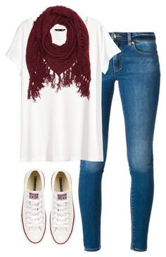 #fall #outfit / Red Scarf + White Sneaker