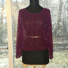 Price Drop!!! Lace top Womens purple lace top size small elastic wrists and waist super cute size small Derek Heart Tops Blouses