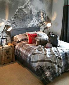 Chambre snow ❤Belle affiche de montagne ❤Style et couleur du lit ❤Couette à carreaux et couleur