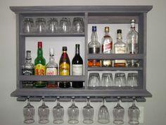 Mini-Bar resistido gris estante del vino gabinete de licor