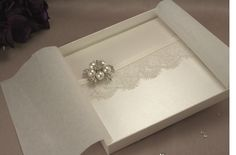 Boxed Lace & Pearl Vintage Wedding Invitation