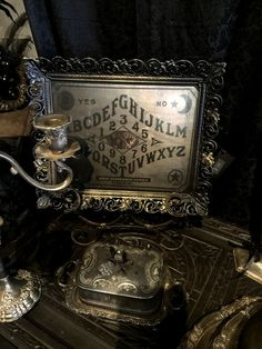 Ouija Board Framed photo of MITCHE MANITOU SPIRIT Board  at Gothic Rose Antiques by GothicRoseAntiques on Etsy
