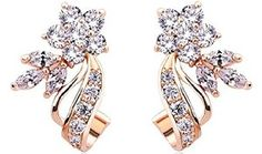 Aretes 18k Gold Plated Stud Earrings Flower Shape White/Multicolor AAA Zircon for Women