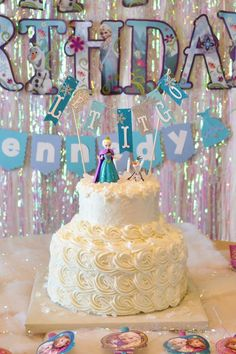 What a pretty birthday cake at this Frozen party!! See more party ideas and share yours at CatchMyParty.com