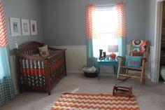 Orange and teal nursery