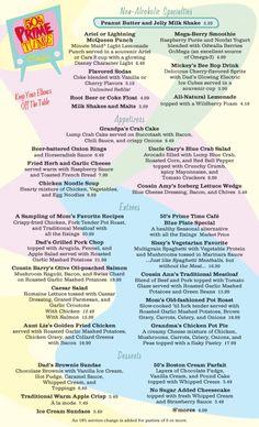 50's prime time cafe disney menu | Disney Hollywood Studios - 50's Prime Time Cafe