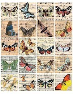 Vintage Tags, Vintage Ephemera, Vintage Paper, Vintage Prints, Printable Vintage, Vintage Clip Art, Free Printable, Vintage Butterfly, Butterfly Art