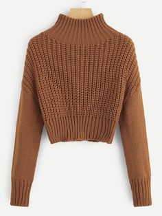 To find out about the Mock-neck Drop Shoulder Crop Jumper at SHEIN, part of our latest Sweaters ready to shop online today! Sweater Outfits, Fall Outfits, Cute Outfits, Fashion Outfits, Sweater Fashion, Girl Fashion, Pullover Outfit, Knit Cardigan, Orange Fashion