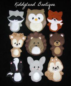 Forest Animals Finger Puppets Set- Felt Finger Puppets-Animal Finger Puppets-Quiet Time by kiddylandboutique on Etsy https://www.etsy.com/listing/227092246/forest-animals-finger-puppets-set-felt
