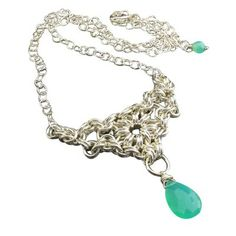 Sterling Silver Chrysoprase Chainmaille Necklace - Byzantine Sunburst