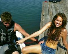 Miley Cyrus and Liam Hemsworth. Miley's hair in this picture!!