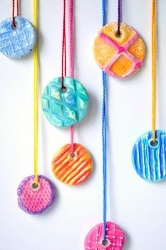 Easy clay texture pendants to make with kids- (these are perfect gifts for kids to give!)