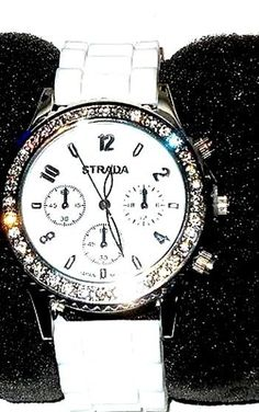 White Face Crystal Watch with Matching color band USA Seller #STRADA #Fashion