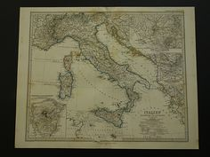 """Antique map of Italy - beautiful original 1872 hand-colored poster - old print Italien Italië Italia Rome Roma Etna Torino - 36x46c 14x18"""" by DecorativePrints on Etsy"""