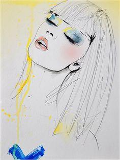 Marianne  moda ilustración impresión del arte por LeighViner, $28.00