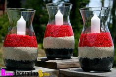 DIY 4th of July home decor. How amazing do these candles look