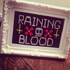 Slayer cross stitch. Raining blood!