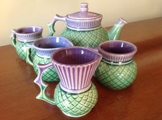 I have the little jug (second from left) and it is the sweetest jug. Bought it at Loch Ness. Scottish Thistle, Scottish Decor, Ceramic Manufacturer, Tea Stains, Pottery Art, Tea Time, Tea Party, Tea Cups, Thistles