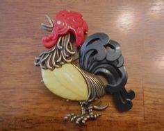 Vintage Hattie Carnegie  Bakelite Rooster Brooch  #HattieCarnegie