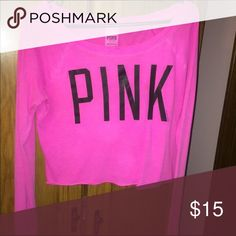 VS Pink crop top Great condition, true to size. For reference I'm 5'5 and it goes right to my bellybutton! PINK Victoria's Secret Tops Crop Tops