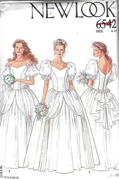 New Look 6542 Misses Bridal Gown Pattern, Wedding Dress, Sweetheart Neckline, Off-The-Shoulder, Princess, 6-18, UNCUT by DawnsDesignBoutique on Etsy