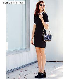 A.L.C. Aldridge Dress ($495) in Loden/White Isson Australia Poul Sunglasses ($490) in Black and Bone (888.343.8746) Jerome Dreyfuss The Bobi Bag ($960) in Black and White Watersnake