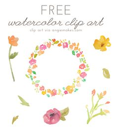 free watercolor flower clipart