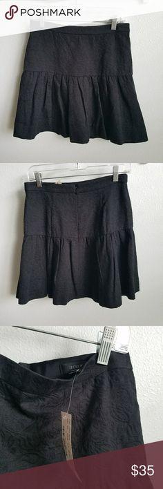 "J. CREW black jacquard floral print skirt nwt! 2 New with tags!   Black cotton floral embossed  jacquard print Size 2 Waist 29"" hips 38"" length 18"" J. Crew Skirts Circle & Skater"