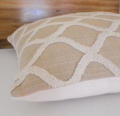 Beige and cream embroidered tufted trellis by pillowflightpdx