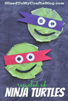 Recycled CD Ninja Turtles - Kid Craft
