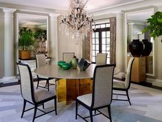 Perennially Egg-squisite Decor   Malachite carved eggs resting on a dining table in a home designed by Jean-Louis Deniot