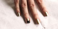 Gold Polish with Black Cat Face