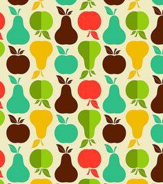 Novelty Cotton Fabric-Apples And Pears. 44'' Wide 100% Cotton; Machine Wash Cool Delicate, No Chlorine Bleach, Tumble Dry Low, Warm Iron. Reg $7.99 at Joann's