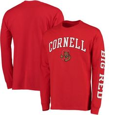 Cornell Big Red Fanatics Branded Distressed Arch Over Logo Long Sleeve Hit T -Shirt - 428d5a13a