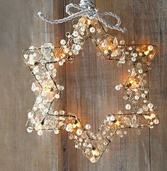 ..Wire star, buttons, lights, wreath