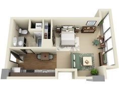 Small Apartment Floor Plans One Bedroom beautiful 3d small house floor plans one bedroom on budget | home