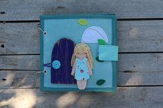 """Ready made Dollhouse quiet book with felt """"paper"""" doll, Travel Dollhouse, 6 pages"""