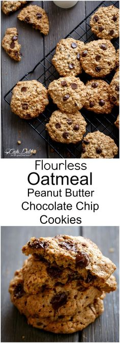 Flourless Oatmeal Peanut Butter Chocolate Chip Cookies   http://cafedelites.com