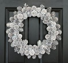 Wintry White Pinecons Christmas Wreath w/ COMPLIMENTARY Wreath Storage Tote, Winter Wreath, Front Door Wreath, Holiday Wreath for the Door: