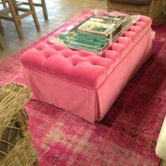 40 Awesome pink velvet ottoman images