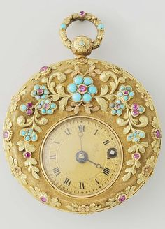 A gold, ruby and gem set lady's watch, circa 1830.