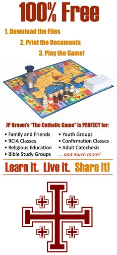 "The Catholic Game — The main purpose of The Catholic Game is plain and simple: To educate people of all ages about the Catholic Church in a fun, instructional manner. Taking Pope Benedict XVI's words to heart: ""The deposit of faith is a priceless treasure which each generation must pass on to the next by winning hearts to Jesus Christ and shaping minds in the knowledge, understanding and love of his Church."""